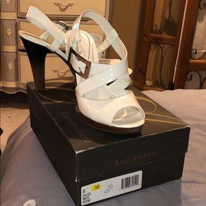 Enzo Angiolini white patent sandals